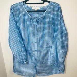 Ann Taylor Loft Sheer Blue Button Down Blouse M